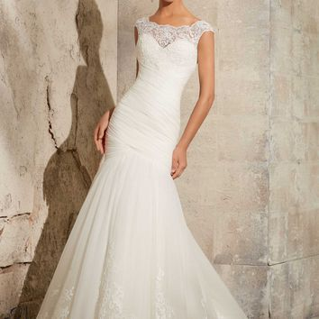 1075821a129 Blu by Mori Lee 5305 Fit and Flare Lace Wedding Dress