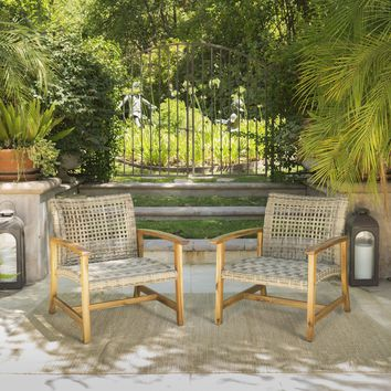 Savannah Outdoor Mid Century Acacia Wood Frame Wicker Club Chairs (Set of 2)