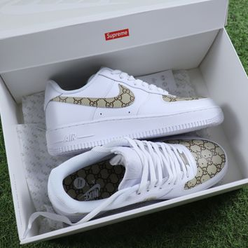 Best Online Sale Supreme x Gucci x Nike Air Force 1 White Brown Sport Shoes Sneaker