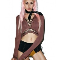 Brown Lace Up Crop | Dolls Kill