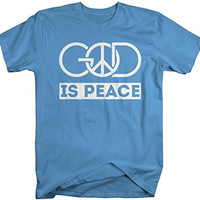 Shirts By Sarah Men's Religious God Is Peace T-Shirt Christian Shirts