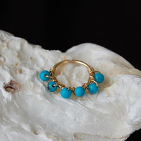 Cartilage Hoop - Tiny 14k Gold Fill Wire Wrapped with Turquoise Gemstones