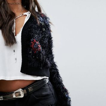 Free People Treat Yourself Rose Embroidered Cardigan at asos.com