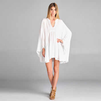Mandarin Collar Batwing Dress