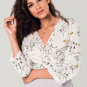 White wrap tea blouse