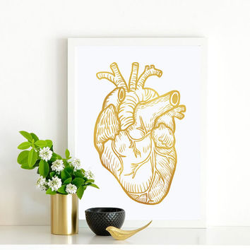 "Gold Foil Anatomy Poster ""Heart"",  Gold Foil Print, Anatomy Print, Wall Decor, Wall Art, Anatomy Wall Art, Home Decor, Heart Illustration."