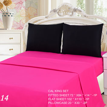 Tache 3 to 4 PC Cotton Solid Pink Superstar & Black Bed Sheet Set
