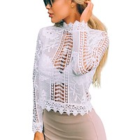 LOVELY IN LACE CROPPED TOP