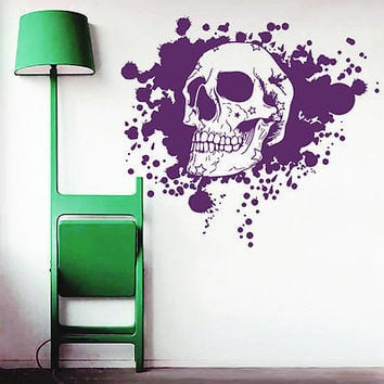 Wall Deacsl Skull Bones Star Horror Blood Art Bedroom Vinyl Sticker Decor DA1950