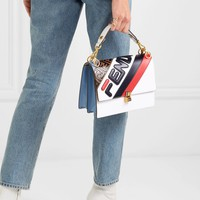 FENDI Kan I appliquéd leather shoulder bag
