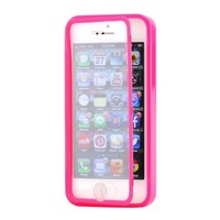 Gearonic AV-5401-Hpink-iph5 Hybrid TPU Wrap Up Case with Built-In Screen Protector Stand for iPhone 5 - Non-Retail Packaging - Hot Pink