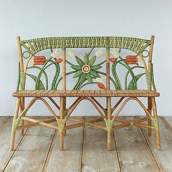 Floral Rattan Bench