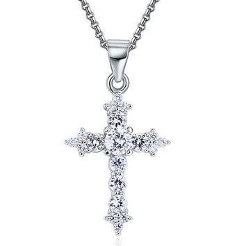 Sterling Silver Faux Diamond Cross Necklace