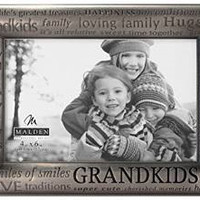 Modern Pewter Metal Diecast Grandkids Expressions Picture Frame 4x6