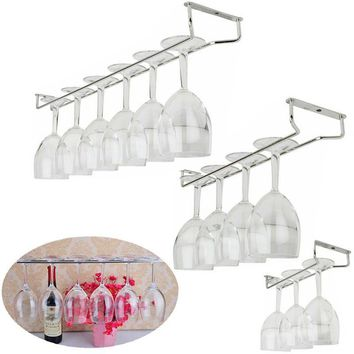 New Hot sales Home and bar tools Wine Glass Rack Hanging Large Chrome Stemware Holder Under Cabinet Kitchen