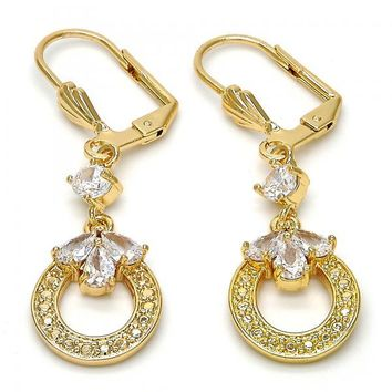 Gold Layered Long Earring, Teardrop Design, with Cubic Zirconia, Gold Tone