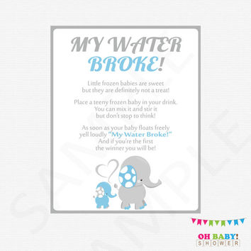 My Water Broke Baby Shower Game, Elephant Baby Shower Games, Frozen Baby Game, Baby Shower Boy Printables, Download Baby Blue Elephant ELLBG