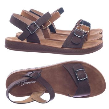 Reform9 by Forever Link Comfortable Flatform Open Toe Sandal w Rubber Outsole & Ankle Strap