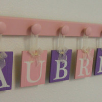Purple and Pink Baby Name Wall Hanging Custom Sign Set Includes Letters AUBREY 6 Wooden Hangers in Light Pink