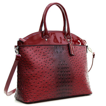 Dasein(R) Ostrich Faux Leather Large Satchel with Patent Trim