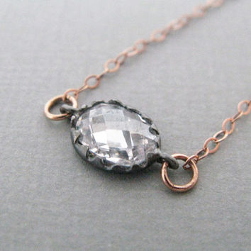 Oxidized Rose Cut Crystal Necklace in Silver 14K Rose Gold Filled