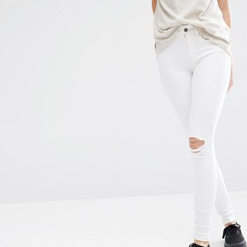 Dr Denim Lexy Mid Rise Second Skin Super Skinny Ripped Knee Jeans at asos.com