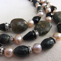 Turquoise Nugget, Freshwater Pearl, Serpentine, and Crystal Necklace