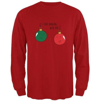PEAPGQ9 Christmas I Love Hanging With You Ornament Pun Mens Long Sleeve T Shirt