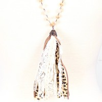 Long Beaded Leopard + Lace Tassel Necklace