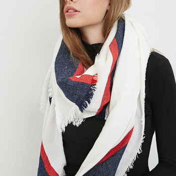 Striped-Trim Frayed Scarf