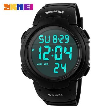 SKMEI Oversized Fashionable Casual Men Wristwatches Digital Waterproof LED Watch Outdoor Multifunctional Student Sports Watches