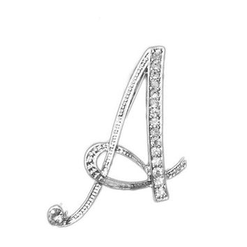 QCOOLJLY Fashion A To Z 26 Letters Design Brooches Pins English Letter Personality Crystal Brooches Jewelry Clothing Accessories