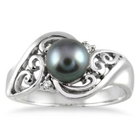 7mm Freshwater Black Pearl and Diamond Engraved Ring in .925 Sterling