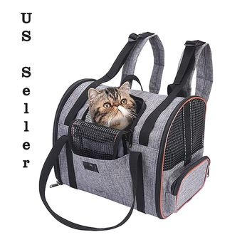 Cat Carrier Multi-Functional Folding Pet Car Seat Basket & Carrier