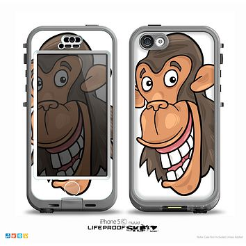 The White Laughing Vector Chimp Skin for the iPhone 5c nüüd LifeProof Case