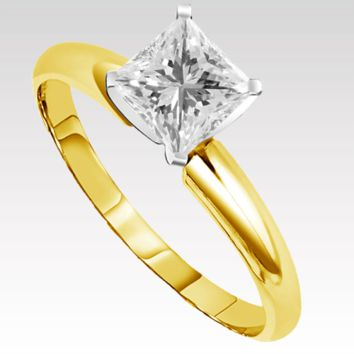 Princess Cut Diamond Solitaire Engagement Ring .35 ct in 14k Gold