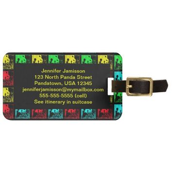 Giant Pandas Pop Art Colorful Luggage Tag