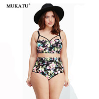 2016 New Sexy Print Plus Size Bikini Sets L XL XXL XXXL 4XL Bathing Suits Big Size Women Swimwear High Waist Swimsuits