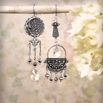 Bella Luna Sterling Silver Assemblage Earrings Romantic Crescent Moon Star Dangle Earrings Boho Gypsy Marcasite Crystal Bali Silver Earrings