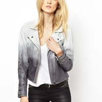 Selected Exclusive to ASOS Dip Dye Leather Jacket