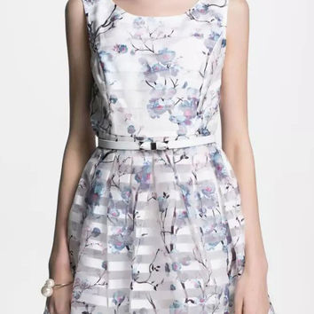 White Floral Printed Organza Skater Dress