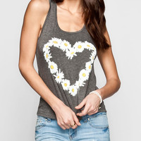 Full Tilt Daisy Heart Womens Tank Charcoal  In Sizes
