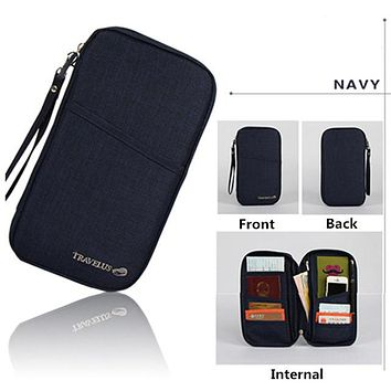 NAVY Travel Journey Document Organizer Wallet Passport ID Card Holder Ticket Credit Card Bag Case