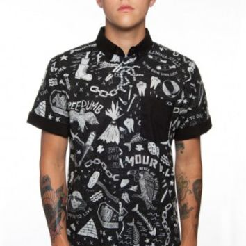 Glamour Kills - GUYS WATERY GRAVE SHORT SLEEVE BUTTON UP