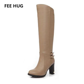 Fashion Italy Knee-High Boots Winter Woman's Soft Leather Fashion Side Zippers New Female Thick Heel Tall Boots Shoes Plus Size