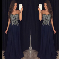Sweetheart  Long Prom Dress With applique  I153
