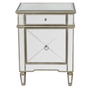 Claudette Mirrored Nightstand in Silver