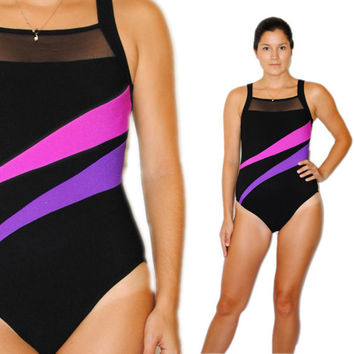 Vintage Swimsuit -- Retro Swim -- Vintage 80s Black Swimsuit -- Vintage Bathing Suit -- Spring Fashion -- Summer Fashion