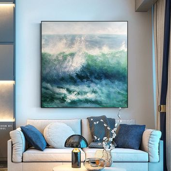 Original sea waves Oil Painting on canvas Modern abstrac texture Blue agate acrylic painting large wall art home decor cuadros abstractos