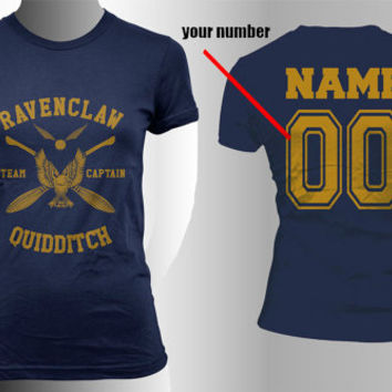 Custom Name and Number on back, Ravenclaw Quidditch team Captain Yellow print on Navy Women tee